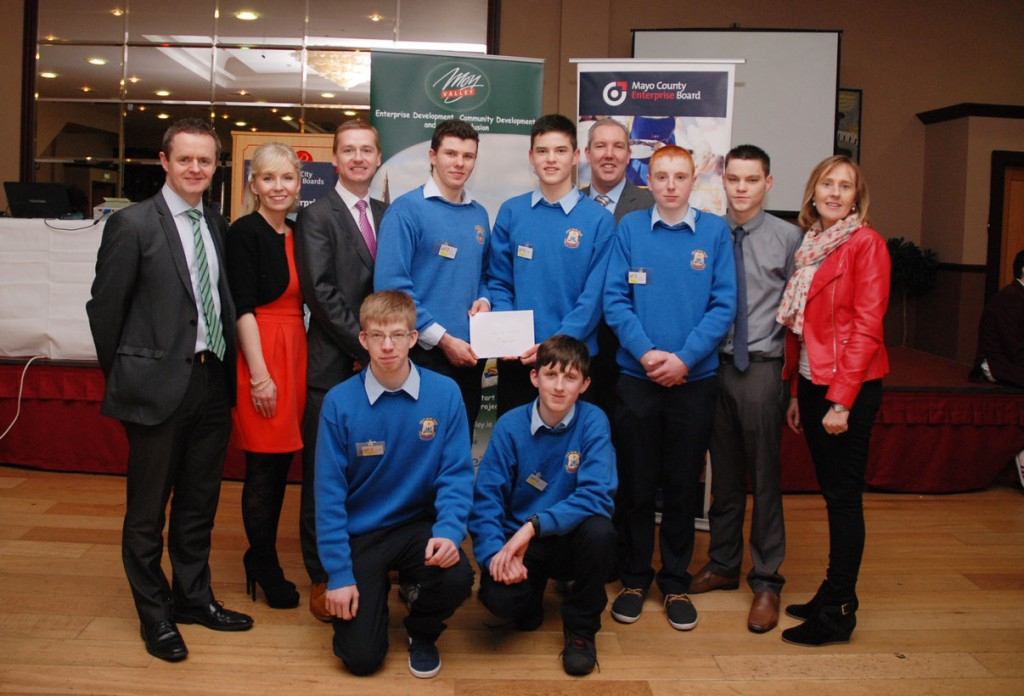 Pictured L-R: John Magee, Micro Enterprise Officer; Joanne Grehan, CEO Mayo County Enterprise Board; Seamus McHugh, CBE; Students from St. Josephs Secondary School Foxford who won 'Best Presentation Award'; Kevin Corrigan, CEO Moy Valley Resources IRD; James Gaughan, SEA Mentor Moy Valley Resources IRD and Deirdre Foy, Teacher St. Josephs, Foxford