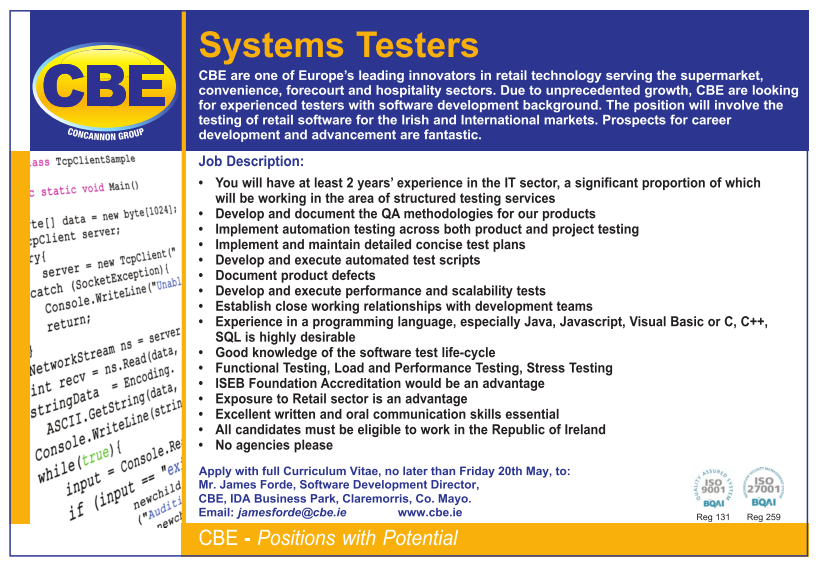 Systems Testers May 2016