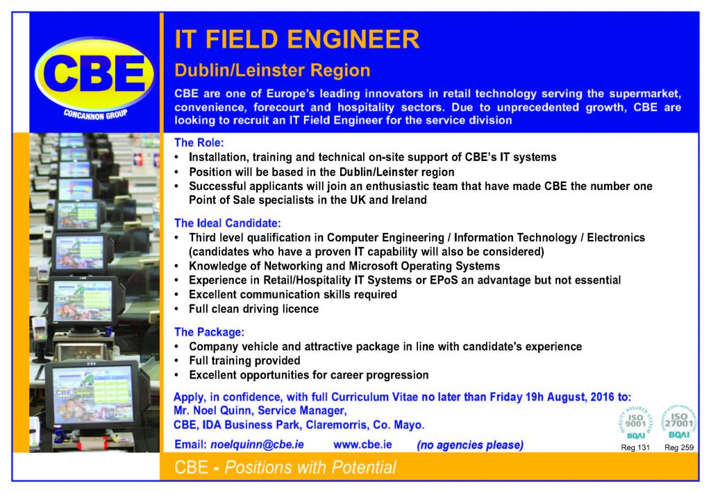 RecruitAd ITFieldEngineer Dublin July 2016