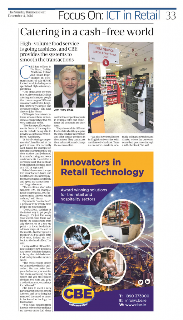ICT in Retail - Sunday Business Post 4/12/16